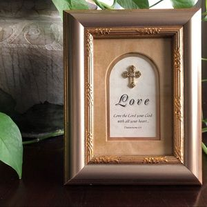 LOVE The Lord Deut 6:5 gold frame cross stand art